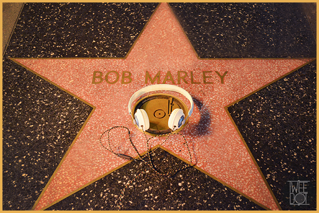 Tweedot blog magazine - Bob Marley star with House of Fame headphones on Hollywood Boulevard Walk of Fame