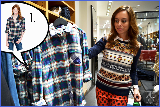 Tweedot blog magazine - blogger Sydne Summer at JCrew Los Angeles - must have plaid blouse