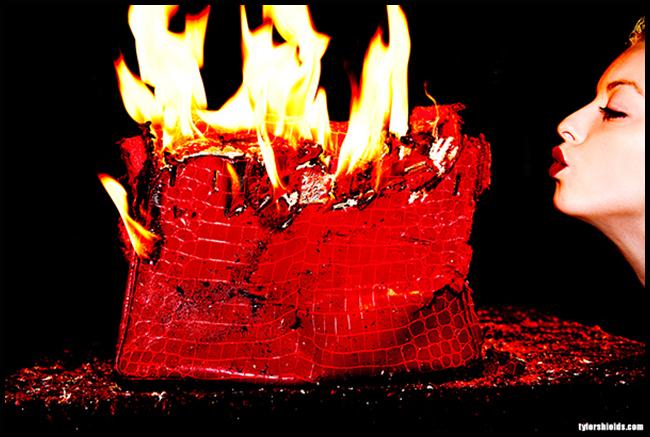 Tweedot blog magazine - fotografo Tyler Shields - Francesca Eastwood distrugge una Birkin Hermes